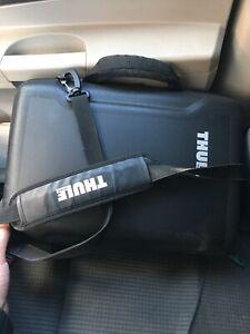 new concept d430c 7cd59 Details about Thule Messenger Bag With Shoulder Strap Black Hard Case Laptop