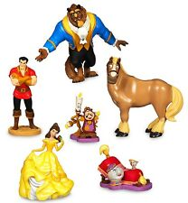 *BEAUTY AND THE BEAST 6 Figure Set DISNEY PVC TOY Cake Topper GASTON Philippe!*