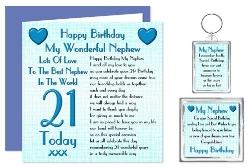Ages 16-70 Years  Lots Love Keyring /& Magnet Card My Nephew Birthday Gift
