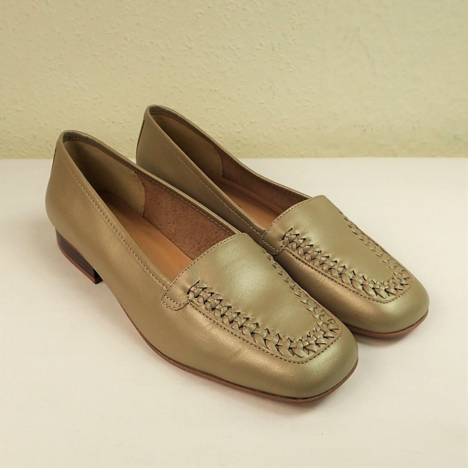 Clarks Hispaniol Sz UK 6 EU 39.5 Leder Flat Slip On Loafers Schuhe Metallic Gold