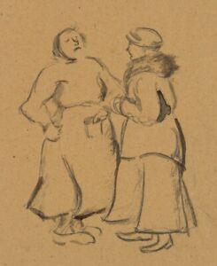 Gespraeche-unter-Damen-Skandinavien-um-1900-Pinselzeichnung-in-Aquarell