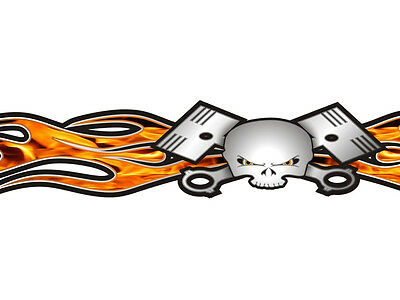 American Flag Old School Flame Skull Piston Windshield tailgate decal USA