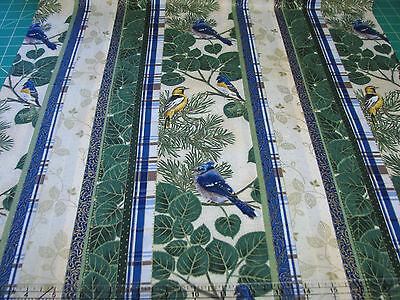 3 Yards Quilt Cotton Fabric- Hoffman Aspen Creek Birds Cream Stripe Met Gold