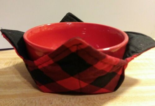 Microwave Bowl Holder Buffalo Plaid Red and Black Cozy Bowl Potholder Bowl Cover