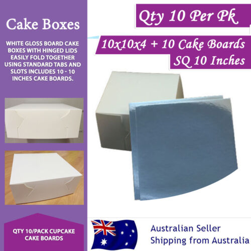 CAKE BOXES 10x10x4+10 Boards SQ 10Inches 10Pk Cupcake BoardsSydney Metro Only