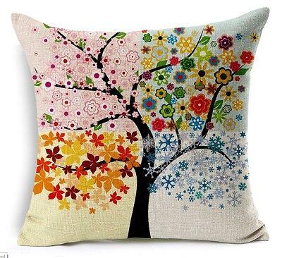 Nature 4 Seasons Cushion Cover Pillow Case: New! Cotton Linen Home Decor Sofa