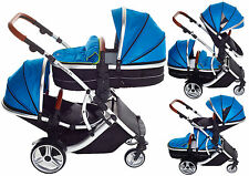 Duellette 21CB/BS Twin Double Pushchair baby Prams Newborn Travel system Aqua