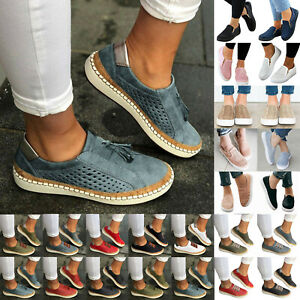 Womens-Casual-Shoes-Slip-On-Plimsolls-Loafers-Flats-Sneakers-Trainers-Shoes-Size