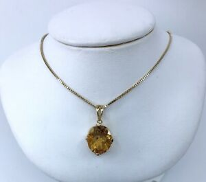14k-Yellow-Gold-Citrine-Pendant-Necklace