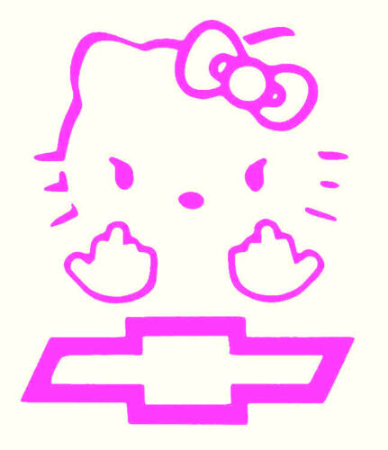 """Hello Kitty flipping fingers Chevy B Vinyl Decal sticker BUY 2 SETS GET 1 FREE/"""""""