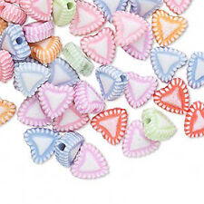 100 Assorted Pastel Candy Heart Acrylic Beads 8MM