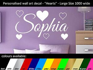 Art Mural Personnalisé-nom Decal-cœurs-large 1000x560mm-afficher Le Titre D'origine 100% D'Origine