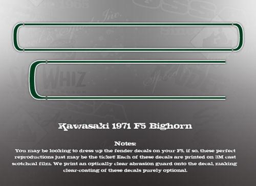 KAWASAKI 1971 F5 350 BIGHORN FENDER DECALS GRAPHICS