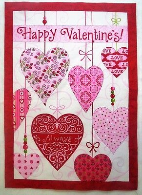 "Happy Valentine Quilt Top Fabric Pink Panel by Moda 13.75"" x 19.75"" plus 1"" seam"