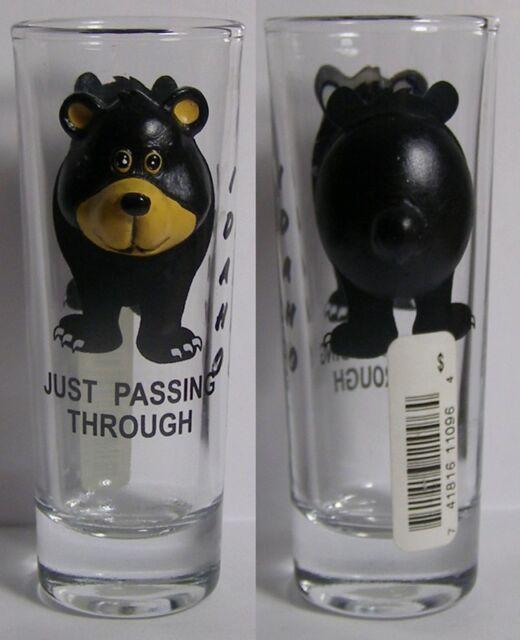 Just Passing Through 3D 3 Dimensional Bear Shot Glass #4362
