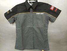 Can Am BRP Evinrude Skidoo Shop Mechanic Pit Shirt Extra Small Ladies Black/Gray