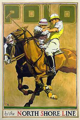 Jeu de polo USA AFFICHE ANCIENNE chevaux repro