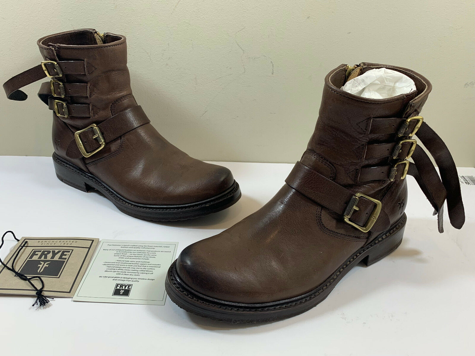 FRYE VERONICA STRAP SHORT Leather Boots - HTF CHOCOLATE  428 Ret