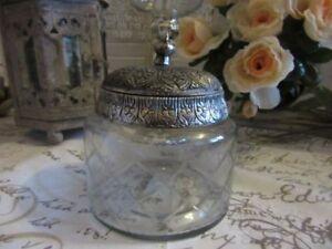 Candy-Schiff-Storage-Jar-Antik-Glas-Metall-Klar-Silber-Vintage