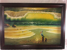 VINTAGE OIL ON CANVAS PAINTING OCEAN BEACH WAVES PELICAN BIRD