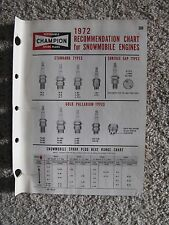 1972 Champion Spark Plugs Recommendation Chart for Snowmobile Engines - 4 pages