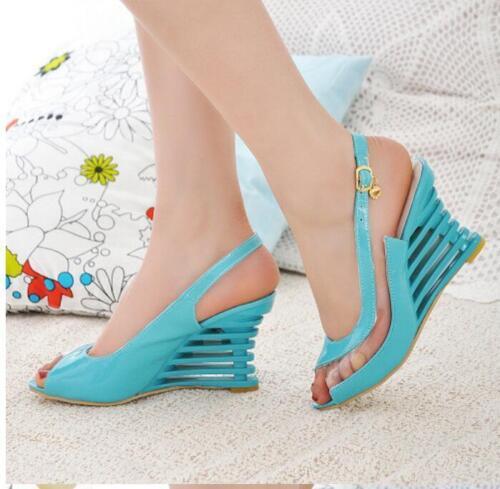 Mesdames Royaume-Uni Bout Ouvert Transparent Escarpins compensées talons Sandales Chaussures Taille