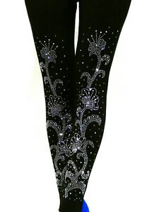 Slim-Leggins-Stretch-Baumwolle-Leggings-Vorne-mit-Strass-Motiv-Gr-38-40-42-44