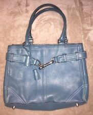 Coach Teal Blue Leather Hampton Handbag Tote Purse Silver Hardware 8A70