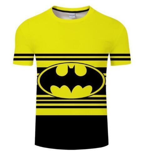 Man/'sT-shirt Yellow Batman /& Stripes printed Short Sleeve O-neck t-shirt S-6XL
