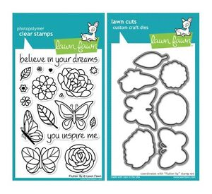 Lawn Fawn FLUTTER BY LF383 & LF797 Clear Stamp and Die Set