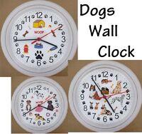 Dog Lovers Wall Clock Doggy Puppy Pup Paws Canine Pet Pupper Doggo Doggies Bone