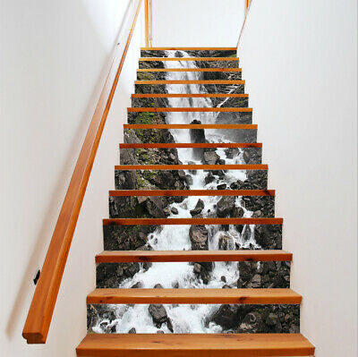 Us 3d Self Adhesive Rock Stone Waterfall Staircase Stickers Wall Mural Wallpaper Ebay