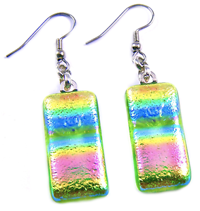"""DICHROIC Glass EARRINGS Lime Green Pink Tie Dye Patterned Dangle Surgical 1"""""""