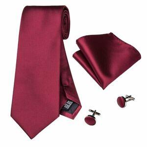 vente la moins chère Nouveaux produits conception adroite Détails sur Ensemble composé d'une cravate, pochette, boutons de manchette  en soie tissée