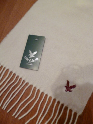 Lyle & Scott scarf cream lambswool burgundy eagle women ladies mens NEW wool