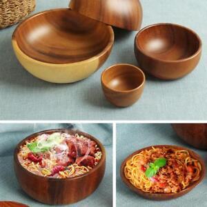 Classic-Natual-Wood-Round-Salad-Bowl-Kitchen-Handmade-Children-Fruit-Rice-Bowl