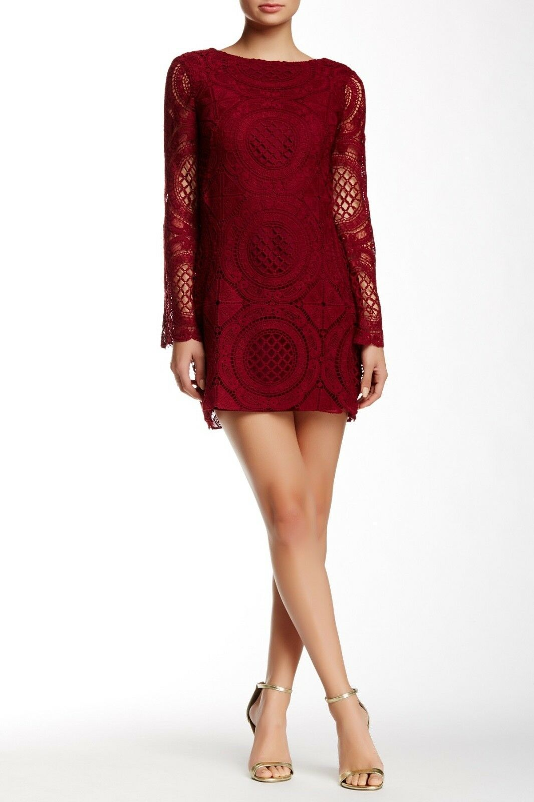 Alexia Admor Crochet Long Sleeve Dress NWT     SZ M   C325