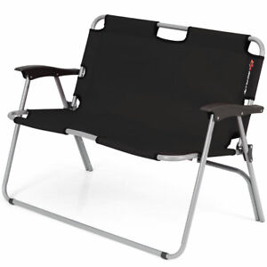 2-Person-Camping-Folding-Chair-Portable-Outdoor-Bench-Patio-Loveseat-Black