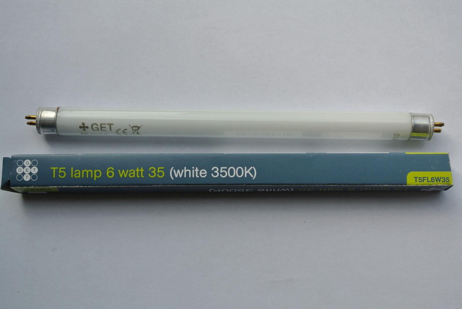 Box 25 x GET 6W T5 Opal Glass Tube Lamp Bulb 9  225mm doubleended 3500k T5FL6W35