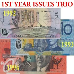 Australia-1992-1994-CFU-First-Year-Polymer-SET-of-5-10-20-Banknote-Issues
