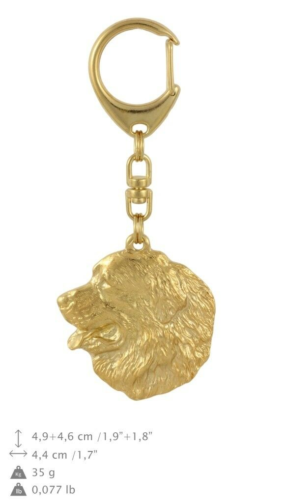 Bernese Mountain - gold covered keyring with dog, quality, keychain Art Dog