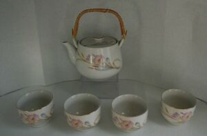 Japanese-tea-set-Teapot-with-4-cups-white-with-lavender-blue-floral-design
