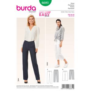 Burda Misses Narrow Leg Trousers or Crops Sewing Pattern 6681