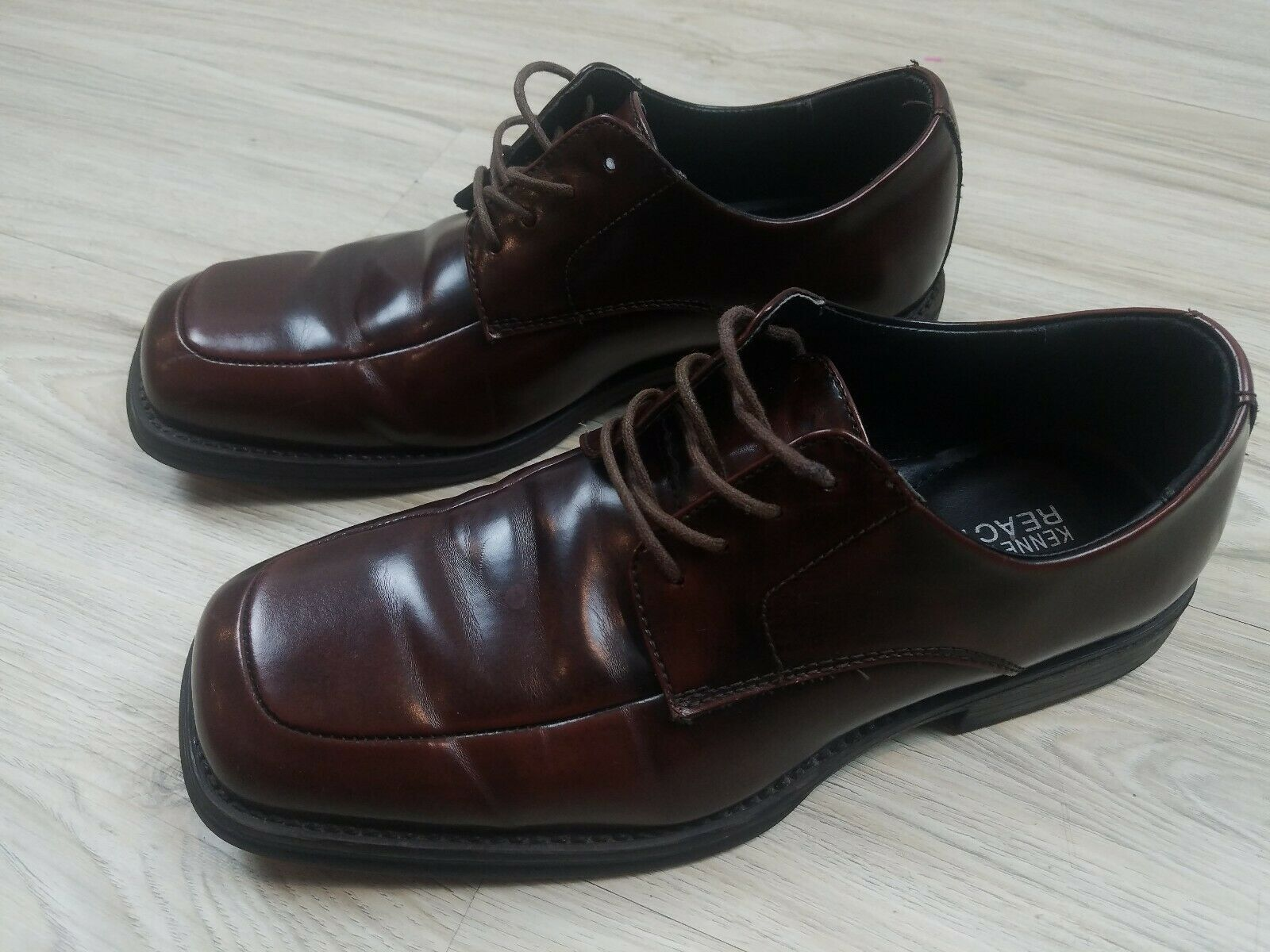 Kenneth Cole Reaction Men's Dress Shoes Size 9 1/2 Brown Man Made W05354
