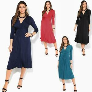 Women-Ladies-V-Neck-Midi-Dress-Knee-Long-A-Line-Skirt-3-4-Sleeve-Knot-Party-Work