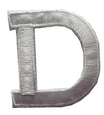 "1-3/4"" Beige White Letter ""D"" Embroidery Iron On Appliqué Patch/Old Stock"