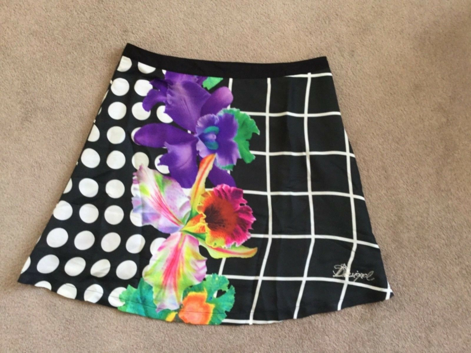 "Beautiful Desigual Lined Summer Skirt, 29"" Waist, NWT"