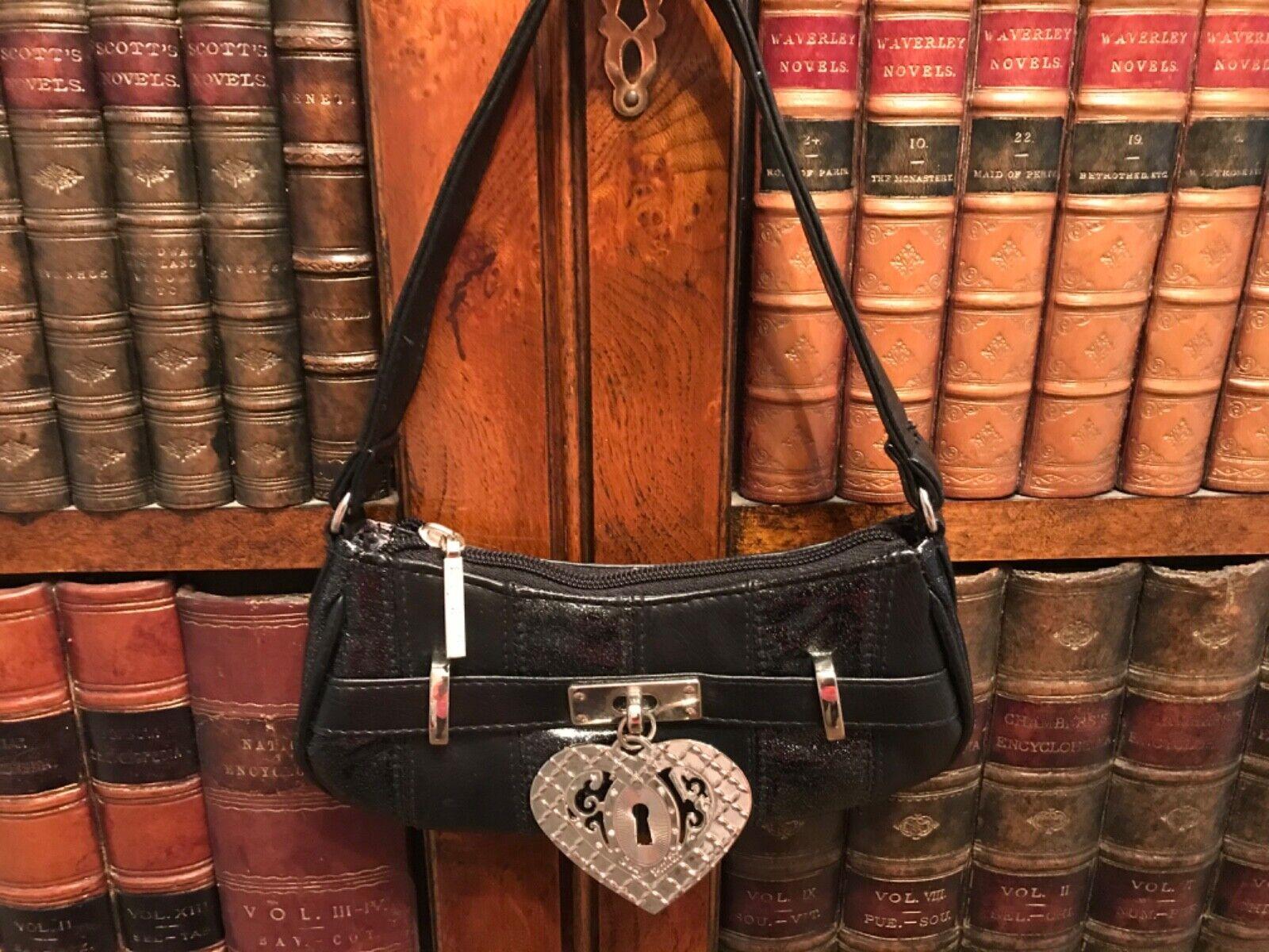 Suzy Smith Mini Black Handbag with Large Heart Decoration - New