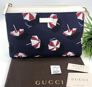 Gucci-Authentic-Umbrella-Print-Zipper-Pouch-Clutch-Bag-Blue-Red-Canvas-NWT-325