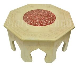 Small Wooden Food Corner Round Painted Side End Table Bajot Chowki